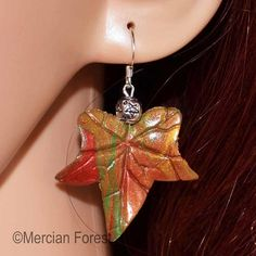 Your place to buy and sell all things handmade Pagan Jewelry, Fall Jewelry, Ivy Leaf, Pentacle, Leaf Earrings, Wiccan, Polymer Clay, Gems, Hand Painted
