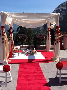 Mandap for Wedding Ceremony. Red & White.