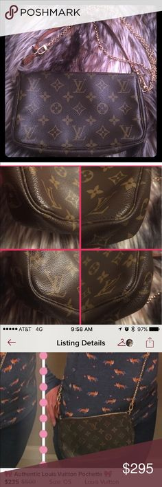 Authentic Louis Vuitton POCHETTE Purchased off Posh from another seller, My sister did not want it so back it goes to sell. LONG CHAIN NOT INCLUDED. MAKE OFFERS PLEASE. Just trying to get my money back Louis Vuitton Bags Shoulder Bags