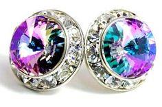 $19.99 Amazon.com: 15MM Iridescent Rainbow Jewel Tone 'Vitrail' Light Violet, Blue & Green Swarovski Crystal Elements Round Stud Earrings, Hypoallergenic Posts: Kate L. Price: Jewelry