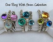One Birthstone Stacking Ring w/ 5mm cabochon - Stackable Rings -  Mothers Ring -  Family Ring -   Stackable Rings - Sterling Silver