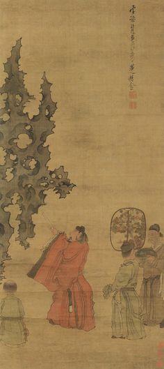 Chen Hongshou(陈洪绶) ,  米芾拜石图