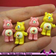 4 Pcs Pink and Yellow BEAR Flatback Resin Decoden Kawaii Cabochons 19x28mm