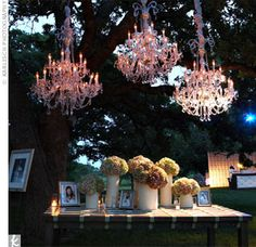 I love the idea of hanging chandeliers where they shouldn't be...a tree, a gazebo, suspended in a tent, etc