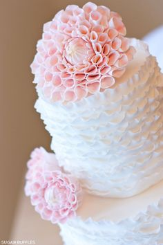 sugary, delectable and scrumptiously meticulous details  Ruffles & Dahlias Birthday Cake