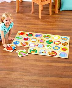 Children can buildtheir knowledge by piecing together this Wooden Learning Floor Puzzle. The jumbo pieces come together to form a large, colorful image of