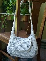 Crochet Hobo bag made with 'Plarn' (Yarn made from recycling plastic bags)