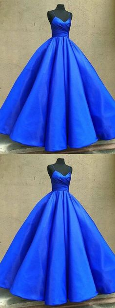 Royal Blue Ball Gown,Blue Prom Dress,Spoaghetti Straps Evening Dress,V-Neck Party Gown