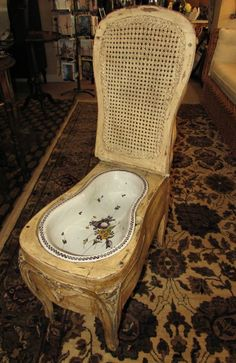 Antique 18th Century French Louis XV Caned Bidet with Earthenware Bowl in Collectibles, Antiques | eBay