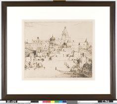 Een feestdag aan de Ganges - M. Bauer - 1910  Maat: 56,8cm x 68,3cm  Materiaal: drukinkt op papier  Inventarisnummer: C746