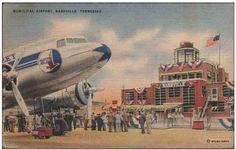 ZQ735 Nashville Tennessee TN Municipal Airport Eastern Airplane Vintage PC
