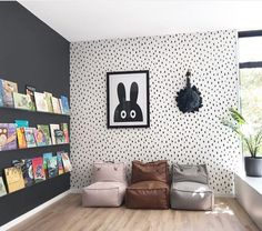 Black and White Playroom-What a great space! Black and white dot wallpaper and a. - Black and White Playroom-What a great space! Black and white dot wallpaper and a black accent wall - Playroom Design, Playroom Decor, Modern Playroom, Playroom Ideas, Playroom For Toddlers, Kids Decor, Nursery Ideas, Deco Kids, Toy Rooms