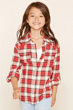 Forever 21 Girls - A woven plaid shirt with a snap-buttoned front, a basic collar, roll-tab long sleeves, and snap-buttoned chest flap pockets.