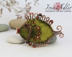 Brooch Green Fish needle felted with wire wrapping