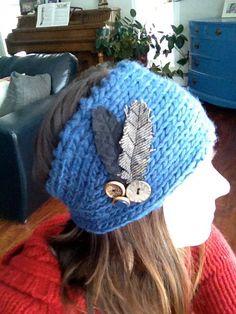 Two feather yale blue headband. $20.00, via Etsy.