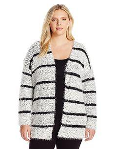 Calvin+Klein+Women's+Plus+Size+Eyelash+Stripe+Cardi,+Soft+White/Black+Multi/Black,+1X