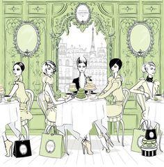 DREAM: Of Macaroons on a Monday!     Illustration of the 'Laduree Room' taken from the new book Fashion House by the uber-talented Megan Hess Illustration