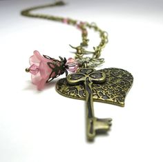 vintage necklace with key image | Vintage Style Necklace Pink Heart and Key by jewelrybyNaLa on Etsy