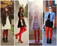 The Lovely Side: 13 Ways to Wear Red Tights
