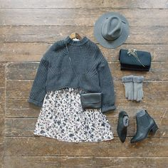 Cutest Back-to-work outfit. Painting flower dress, cropped tassel jumper, Brixton hat, suede gloves, clutch bag and Chelsea boots all online now. #olive #oliveclothing #cheltenham