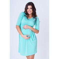 4b98e77b93cb Letné tehotenské šaty mätovej farby s dlhým rukávom - fashionday.eu