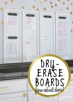 Make your own framed dry-erase boards from cabinet doors! This tutorial is simple, customizable, and brings fabulous results!