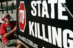 WASHINGTON - JULY 01:  Scott Langley of Boston, Massachusetts, holds a banner during a vigil against the death penalty in front of the U.S. Supreme Court July 1, 2008 in Washington, DC. The Abolitionist Action Committee and the National Coalition to Abolish the Death Penalty held the vigil to abolish the death penalty to mark the 1972 and 1976 Supreme Court rulings suspending the death penalty and later allowing executions to resume.  (Photo by Alex Wong/Getty Images)