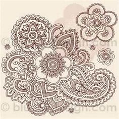 Ornate Henna Paisley Doodle Tattoo Flower And Swirls By Blue67design