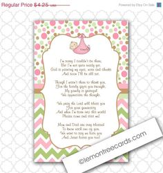 Modern Girl Thank You Poem Notes / INSTANT Download / Baby Shower  Stationery / 3284, Girl Baby Shower Thank You Notes