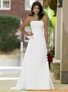 Robe princesse évasée traine chapelle robe de mariée mousseline