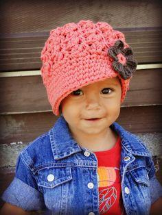 Crochet Baby Hat, kids hat, newsboy hat, newborn-preteen size, custom colors, visor-brim hat, hat with flower.