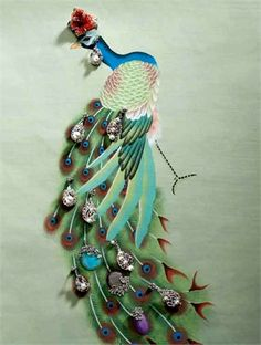 Highly decoratively designed peacock brings vibrancy to the wall in 'Vogue with misha handmadewallpaper'