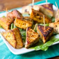 These super simple tofu triangles are infused with pepper salt and pepper flavor.