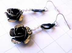 Repurposed Silver Rose Earrings