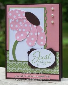 Such pretty pink petals on this handmade Farewell card. Add some pretty shapes and pearls to a nice shade of green and you have a great card.