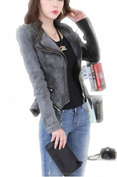 2be305a1099 Unique Punk Design Motorcycle Short Jacket Outerwear Female Fashion Rivet  Dovetail Type Slim Denim Jackets Plus Size 6XL Gray XL