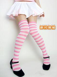 激安ニーソ!【今だけ30%オフ♪】ニーソの新ブランド【絶対領域】国内生産で高品質なのにお得なプライス♪ ボーダーニーソ(ホワイト×ピンク)【Maid costume Kawaii Japanese Candy Fruit】over knee socks