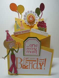 My downline, Sherry Collett, made this Cascading Card to share with the group. Tri Fold Cards, Flip Cards, Fancy Fold Cards, Pop Up Cards, Folded Cards, Cool Cards, Cricut Birthday Cards, Bday Cards, Card Making Inspiration