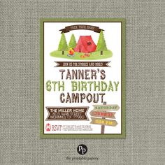 Printable Campout Party Birthday Invitation Card   Tent Camping Backyard Summer Design   Campfire S'mores   Customize   DIY - No. CMP1-1 by ThePrintablePapery on Etsy