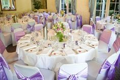 Reception Ball Room - Bram Leigh gorgeous lilac satin with white linens, sweet posies as a centrepiece with roses, hydrangeas, and greens.