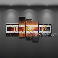 Amazing Modern Abstract Painting High Quality Oil Painting For Bed Room Abstract. This 5 panels canvas wall art is hand painted by A.Qiang, instock - $158. To see more, visit OilPaintingShops.com