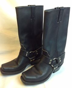Harley Davidson Black Leather Harness Motorcycle Boots