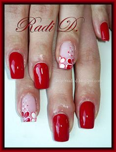 recreate using white & red hearts on the accent nail