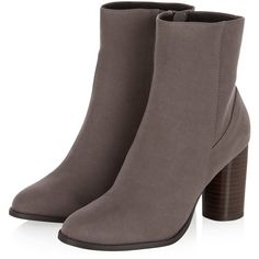 Grey Suedette Cylindrical Heel Ankle Boots via Polyvore featuring shoes, boots, ankle booties, block heel ankle boots, grey bootie, gray boots, gray ankle boots и gray booties