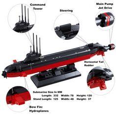 Sluban Nuclear Chinese Army / Navy Jin Class Submarine Lego Compatible building Set Lego Submarine, Nuclear Submarine, Lego Army, Lego Military, Bateau Lego, Legos, Lego Skyscraper, Lego Boat, Lego Guns