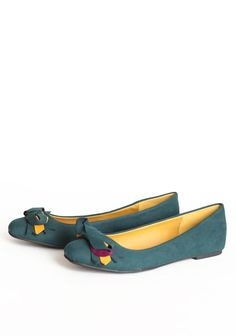 """Marionette Bow Flats In Evergreen 32.99 at shopruche.com. Add a statement color to your outfits with these darling evergreen flats. Softly textured, they are adorned with a chic bow with marigold and magenta layers and a vibrant lining.  All man-made materials, 0.25"""" heel, Padded footbed"""