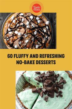 You'll own summer menus when these easy desserts pop up after dinner. No Bake Desserts, Easy Desserts, Dessert Recipes, Taste Of Home, Menu, Baking, Dinner, Food, Menu Board Design