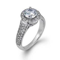 Shop online SIMON G TR346 Halo 18K - White Gold Diamond Engagement Ring at Arthur's Jewelers. Free Shipping