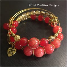 A personal favorite from my Etsy shop https://www.etsy.com/listing/489411926/red-and-gold-bracelet-set-jade-beaded