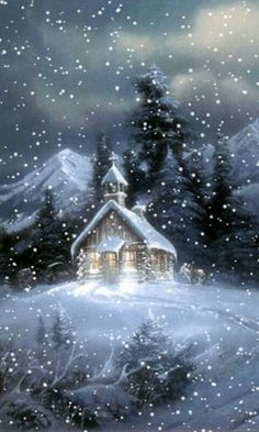 A beautiful animated winter GIF. In this GIF snow falling on a church. Its a cool screen saver and also a very special GIF for Christmas. Christmas Scenery, Christmas Pictures, Christmas Art, Beautiful Christmas, Winter Christmas Scenes, Christmas Graphics, Christmas Candles, Winter Szenen, Winter Night